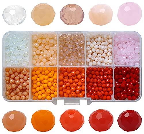 Miystn Facettierte Glasperlen, Glasperlen zum Auffädeln, Glasperlen 4mm, mit Aufbewahrungsbox für DIY Schmuck Armbänder Herstellung Basteln (1000 Stück, 10 Farben)