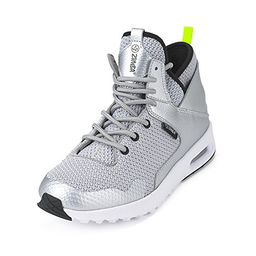 Zumba Women's Air Classic Athletic Dance Workout Shoes with Max Impact Protection Sneaker, Silver, 8