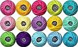15 Colors Crochet Thread,5g Cotton Thread Balls- Crochet Yarn for Begingers Size5,2ply-100% Contton
