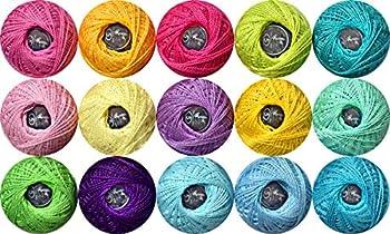 15 Colors Crochet Thread ,5g Cotton Thread Balls- Crochet Yarn for Begingers Size5,2ply-100% Contton