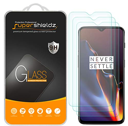 (3 Pack) Supershieldz for OnePlus 6T Tempered Glass Screen Protector Anti Scratch, Bubble Free