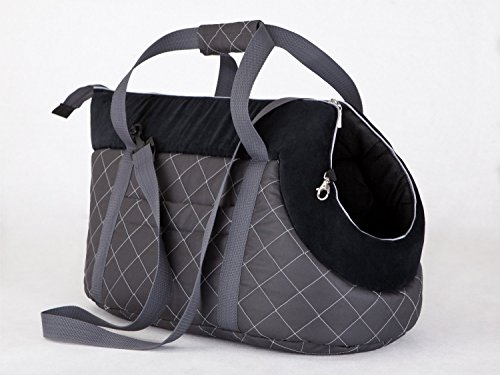 HobbyDog Hundetragetasche Hundetransporttasche Transporttasche Tragetasche Graphit und Schwarz mit Kariert