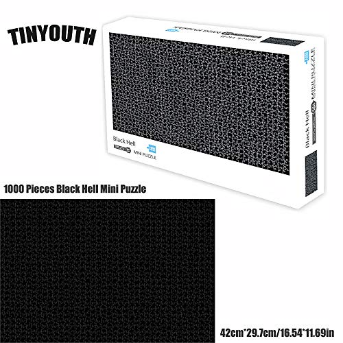 1000 Pieces High Difficult Jigsaw Puzzles for Adults, TINYOUTH Black Hell Mini Puzzle, Pure Black Cardboard Puzzle, No Colour or Printing Blemishes, Stress Reliever Challenge Puzzle for Puzzle Freak