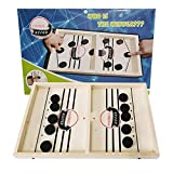 MABES WAREHOUSE Sling Foosball Table Hockey Fast Sling Puck Game with 10 Pucks & 2 Slingshots Portable Slingpuck Board Game for Child, Foosball Slingshot Outdoor Camping Board Games for Family (Big)