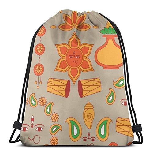 XCNGG Sporttasche Kordeltasche Reisetasche Sporttasche Schultasche Rucksack Indian Festival Gym Bag Travel Drawstring Backpack Men & Women Sport Bag Portable Storage Bag for Camping Hiking Swimming Sh