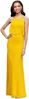 Flounced Crinkle Chiffon Sheath Bridesmaid Dress Style F19773