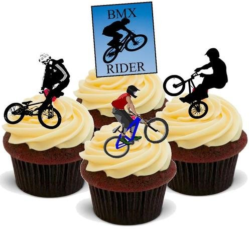 Radfahren BMX Mix - 12 essbare hochwertige stehende Waffeln Karte Kuchen Toppers Dekorationen, Cycling BMX Mix - 12 Edible Stand Up Premium Wafer Card Cake Toppers Decorations