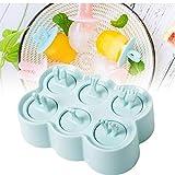 6 Griglia Cartoon Animal Popsicle muffa del gelato dei capretti Maker BPA-Free Piazza vassoio di ghiaccio Crema per famiglia fai da te Popsicle Stampi (blu)