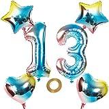Globos con número 13, número 13, arco iris 13, 13, 80 cm, XL para niñas, niños, hinchables, corazón, helio, estrella, globos, cumpleaños, decoración