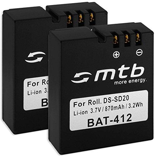 2X Akkus DS-SD20 für Rollei DS-SD20 / Bullet 3S, 5S (WiFi) / AEE, Actionpro, BeastVision, Astak.