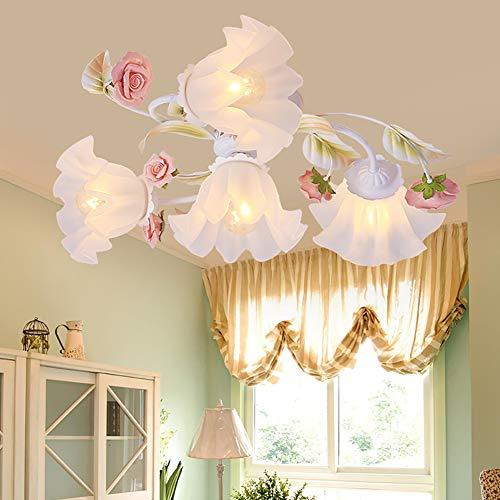 Florentiner Deckenlampe Antik Deckenleuchte Landhausstil Metall Weiß Glasschirme Rosa Blumen 4-Flammig E27 x 60W Wohnzimmer lampe ∅61cm Kreative Zimmerlampe Blume-Shape Deckenlicht,∅ 61cm