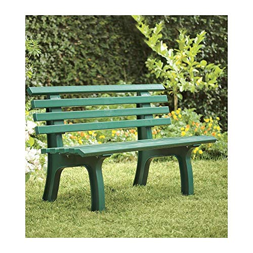 """Plow & Hearth German-Made, Weatherproof Resin 2-seat Garden Bench, Ergonomic Design, Holds Up to 500 lbs, Weighs 24½ lbs, 47"""" L x 21½""""W x 29"""" H, (Green)"""