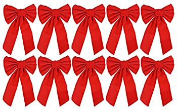 Red Velvet Christmas Bow 9-inch X 16-inch 10 Pack of Holiday Bows