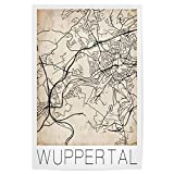 artboxONE Poster 30x20 cm Städte Retro Map Wuppertal