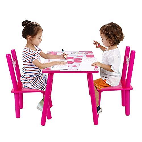 Juego de Mesa y 2 Sillas para Niños Muebles Infantiles Mesa Mesa Infantil con 2 sillas para Pintar, Letra, Juego de Clase y casa de Madera