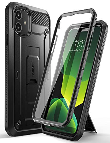 SUPCASE iPhone 11 Hülle 360 Grad Handyhülle Outdoor Hülle Bumper Schutzhülle Full Cover [Unicorn Beetle Pro] mit Integriertem Bildschirmschutz & Gürtelclip 6.1 Zoll 2019 Ausgabe (Schwarz)