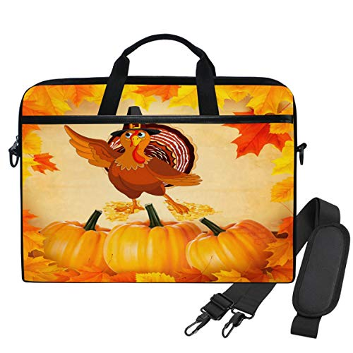 Emoya Laptopn Bag Autumn Pumpkins Leaves Thanks Messenger Laptop Shoulder Bag Compatible 13.3-14 Inch Computer