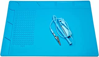 CPB Soldering Repair Anti Static Mat for Electronics Screw Silicone Work Mat with ESD Wrist Strap Compatible with Iphone Ipad IMac Laptop Computer Soldering Iron Size:13.7 x 9.8 inch