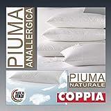 Evodreams Coppia Guanciali Piuma Naturale - Piuma D'Oca, Anatomico, Tessuto Puro Cotone a Tenuta Piuma, Prodotto Artigianale Fatto in Italia