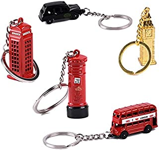 Astra Gourmet 5pcs/set London Souvenir Gift Red Telephone Booth Bus Mail Box Taxi Big Ben Miniature Model Small Keychains Key Rings