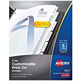 Avery 5-Tab Print-On Binder Dividers, White Tabs, 25 Sets (11517)