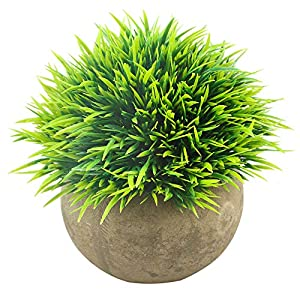 Svenee Mini Artificial Plants, Plastic Fake Green Grass Faux Greenery Topiary Shrubs with Grey Pots for Bathroom Home Office Décor, House Decorations (1)