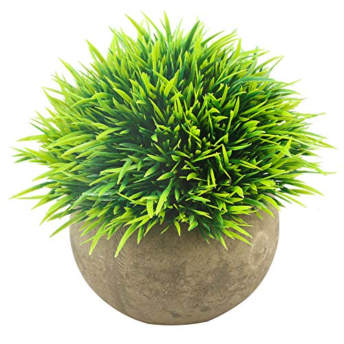 Svenee Mini Artificial Plants, Plastic Fake Green Grass Faux Greenery Topiary Shrubs with Grey Pots for Bathroom Home Office Décor, House Decorations (Green-A, 1)