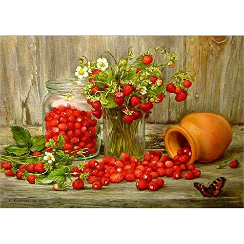 DIY 5D Diamond Painting by Number Kits,Painting Cross Stitch Full Drill Embroidery Pictures Arts Home Decor Vase and Strawberry 15.7x11.8in 1 Pack by Bemall