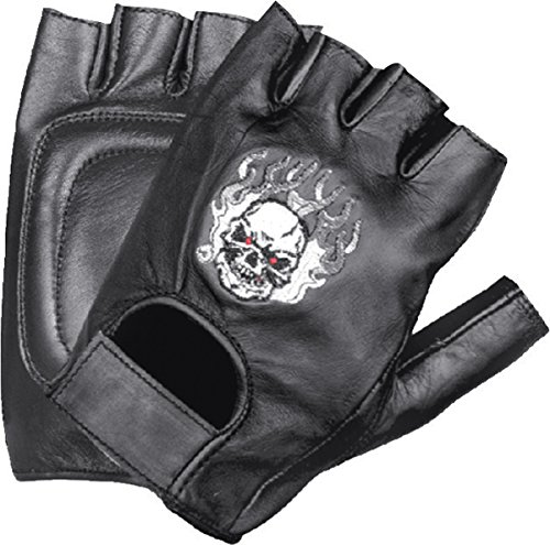 Ted and Jack - Skulls of Glory Embroidered Fingerless Leather Motorcycle Glove Size XXL