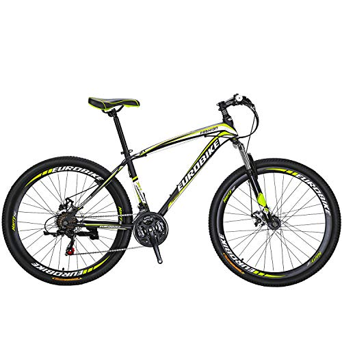 "Eurobike OBK X1 27.5"" Mountain Bike Daul Disc Brakes 21 Speed Mens Bicycle Front Suspension MTB (Yellow)"