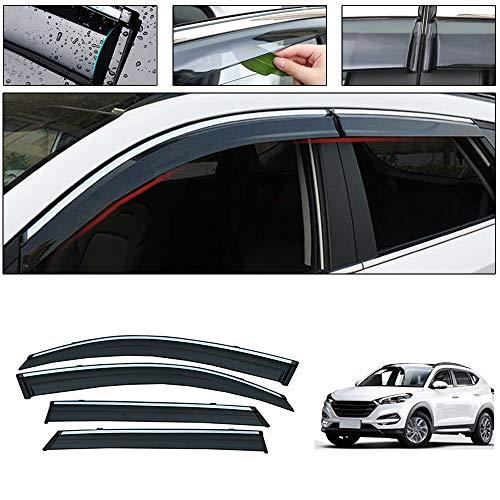 saitake Windabweiser Für Hyundai Tucson 2015-2019 4PCS Autofenster Visier Sonne Regen Rauchabzug Schatten Klebeband Außenvisiere