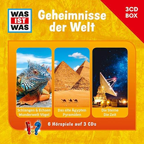 WAS IST WAS 3-CD-Hörspielbox Geheimnisse der Welt: Schlangen & Echsen/ Vögel, Altes Ägypten/ Pyramiden, Die Sterne/ Die Zeit