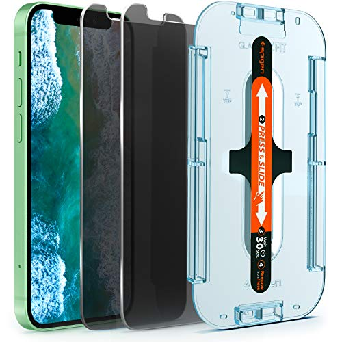 Spigen Anti-Glare Privacy EZ Fit Tempered Glass Screen Protector for iPhone 12 Mini - 2 Pack