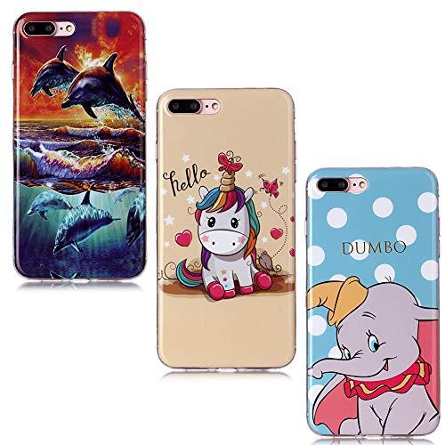QC-EMART 3 Coques pour iPhone 8 Plus Motifs Imprimé, Coque pour iPhone 7 Plus/iPhone 8 Plus Silicone Transparente Ultra Fine Souple Anti Choc Etui Gris Elephant Licorne Rose Dauphin Bleu
