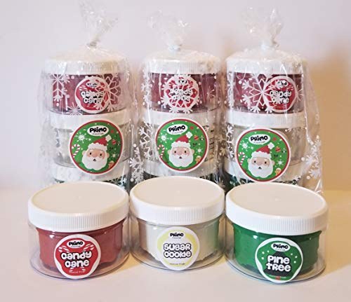 Primo Scented Playdough Holiday 3-Pack, Stocking Stuffer, Play Dough, Non-Toxic, Kid Toy, Peppermint, Sugar Cookie, Pine, Kid Party Favor, Homemade Dough, Red, Green, Sensory, Toddler, Holiday Craft