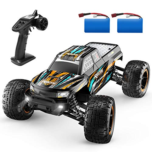 DEERC RC Cars Fast Remote Control Car 16889 for Boys 1:16 Scale 23+ MPH High Speed 4x4 RC Trucks with LED Lights,2.4GHz All Terrain Offroad Truck with 2 Battery,35+ Min Play, Gifts for Kids Adults