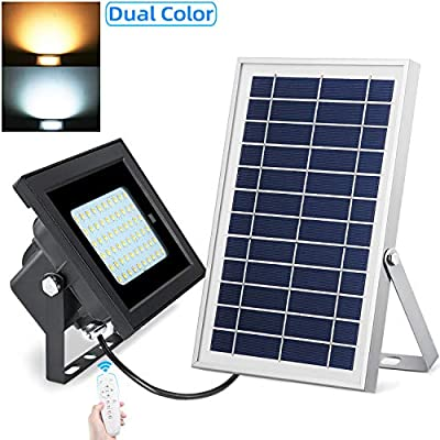 UPONUN Solar Flood Light IP67 Waterproofing with Smart Remote Control Brightness Setting Time Setting Solar Security Light for Patio Backyard Garden Pathway Sign Garage Swimming Pool