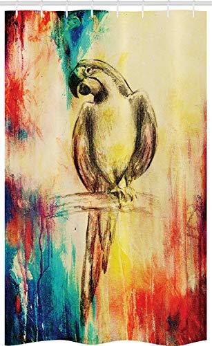 ABAKUHAUS Bunt Schmaler Duschvorhang, Vintage Grunge Papagei, Badezimmer Deko Set aus Stoff mit Haken, 120 x 180 cm, Mehrfarbig