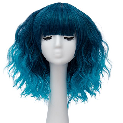 Alacos Fashion 35cm Short Curly Bob Anime Cosplay Wig Daily Party Christmas Halloween Synthetic Heat Resistant Wig for Women +Free Wig Cap (Blue Ombre Brow-Skimming Bangs)