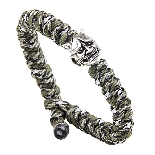 WXYBF Armband Charm Mannen Nylon Armbanden Persoonlijkheid Schedel Vorm Koper Manchet Sieraden Bohemia Touw Armband