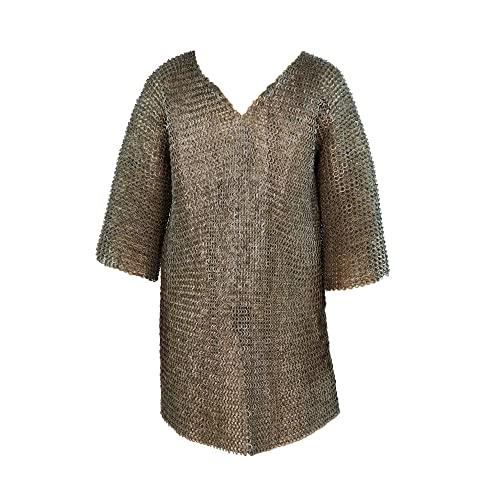 Haubergeon Camisa medieval de cota de Malla con mangas curtas - talla XL - max 152cm. Circunferencia de pecho » 9mm ID anillos planos » medio remachadas con remaches de cuña - Get Dressed for Battl