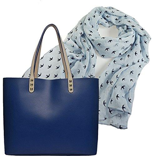 Portogarda Shopper Tasche City Damenhandtasche absolut im Trend als Geschenk-Set mit elegantem Schal großes Tuch mit Schwalben Motiv ca. 80 x 180 cm