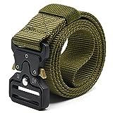Cinturón táctico, cinturón pesado para hombres de 1.5 in, color verde militar, cinturón militar de nailon con hebilla de metal de liberación rápida para uso diario, actividades al aire libre