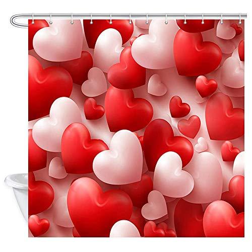 remmber me Valentinstag Duschvorhang rot & rosa Herz Luftballons Duschvorhang wasserdicht Badezimmer Dekor Polyester Stoff Vorhang Sets mit Haken 60 x 72 Zoll