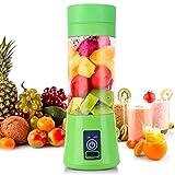 Batidora portátil, mezclador personal de frutas recargable con USB, mini licuadora para batidos, zumo de frutas, batidos de leche 380ml (Batidora Portátil Verde ✓)