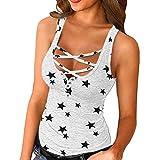 Camisetas Tirantes Mujer Verano Baratas Casual Cruzadas Tie Dye Estampada Blusa Sin Mangas Deporte T-Shirt Originales Tops con Botones Sexy tee Shirts Básica Camisa de Vestir