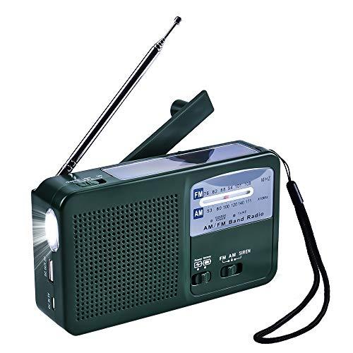 Tragbares Notfall Radio Solar Radio Kurbel AM FM Radio mit LED Taschenlampe USB-Anschluss SOS-Alarm für das Wandern Campingoder generell für Notfälle im Freien