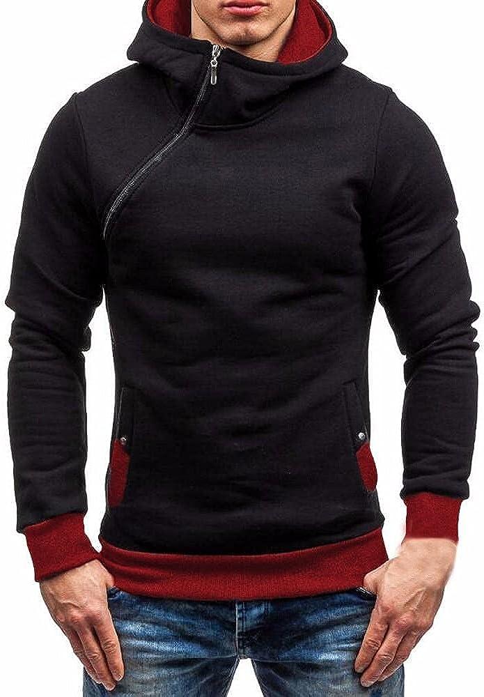 JSPOYOU Men's Hooded Sweatshirt Casual Slim Fit Zipper Hip Hop Hoodies Pullover Lightweight Athletic Gym Workout Sweatshirts