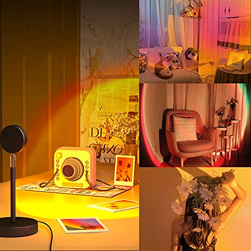 Sunset Light, 360° Sunset Lamp Projector Light Romantic USB LED Projection, Sunset Red Light for Network Selfie Party Live Room Background Home Decor Idea Christmas Gift to Girlfriend