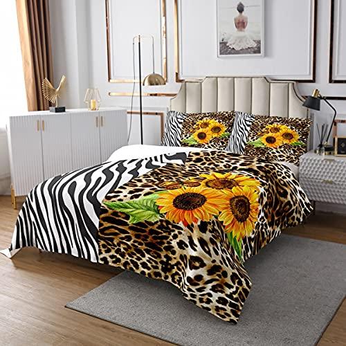 Loussiesd Steppdecke Gepard Drucken Bettüberwurf Sonnenblume Tagesdecke 220x240cm für Jungen Mädchen Kinderzimmer Dekor Blumendruck Leichtgewicht mit 2 Kissenbezug